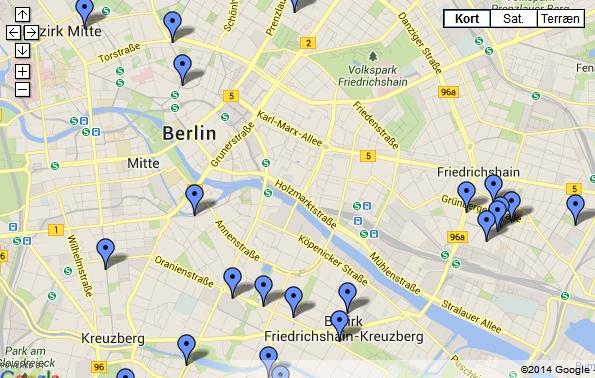 De gode cafeer med gratis wifi kan ses på et Google-kort.