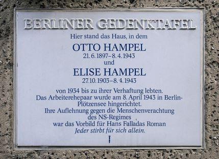 Mindetavle for Elise og Otto Hampel på adressen Amsterdamerstrasse 10 i Berlin