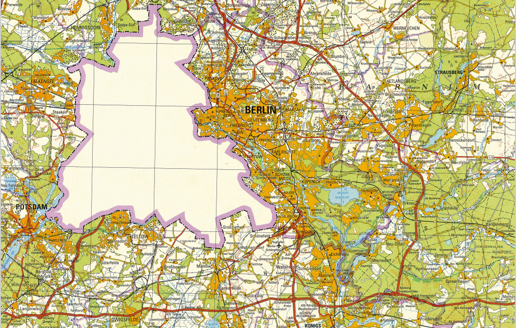 Berlin på et DDR-kort